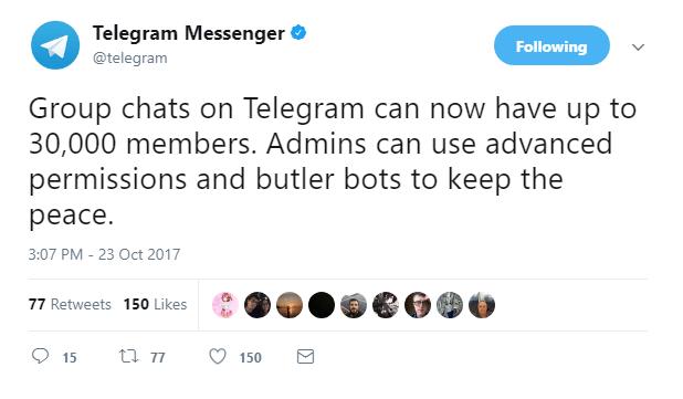 افزایش اعضای سوپر گروه های تلگرام به 30 هزار عضو در هر سوپر گروه